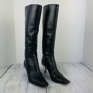 JIMMY CHOO Griffe Black Leather Zip Up Heeled Boot